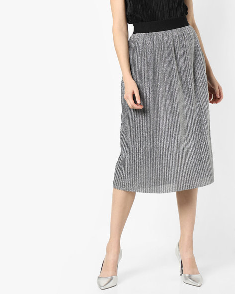 Pleated Midi Skirt By Project Eve WW Evening ( Silver )