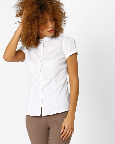 Classic Shirt With Puffed Sleeves By Annabelle By Pantaloons ( White )