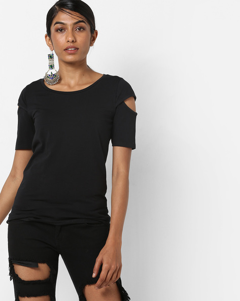 Crew-Neck T-shirt With Cut-Out Sleeves By BOSSINI ( Black )