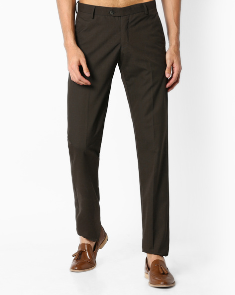 Slim Fit Flat-Front Trousers By VIMAL APPARELS ( Brown ) - 438043053002