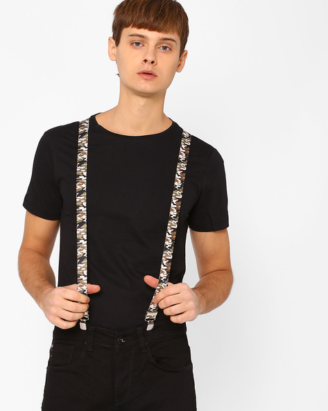 Camouflage Print Suspenders With Clip-Ons By Eristona Man ( Multi )