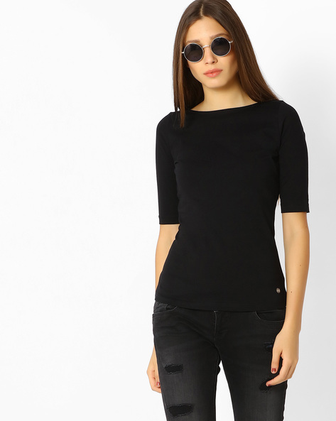Cotton T-shirt With Deep Back By Only ( Black )