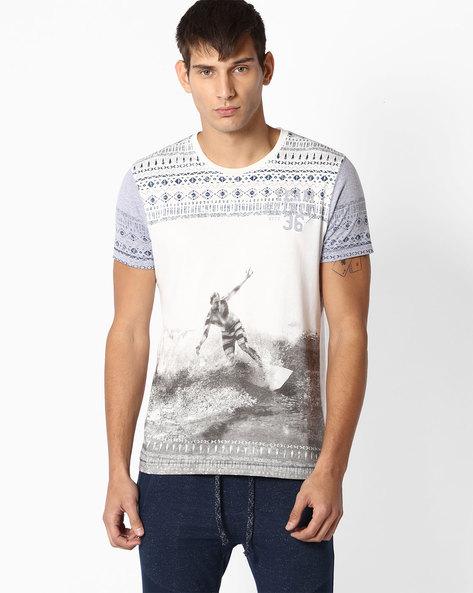 Graphic Print Crew-Neck T-shirt By TEAM SPIRIT ( Greymelange )