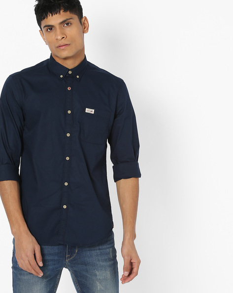 Button-Down Slim Fit Shirt By US POLO ( Navy )