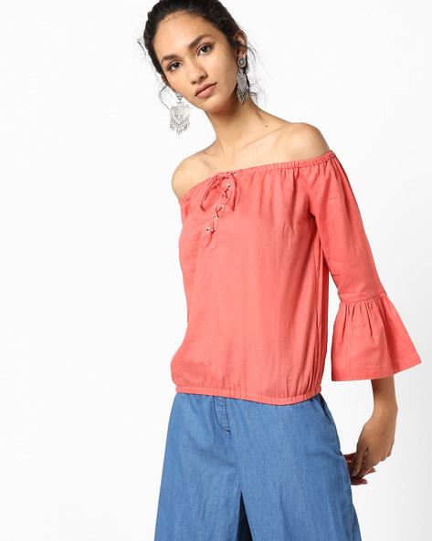Off-Shoulder Top With Bell Sleeves By Vero Moda ( Lightred )