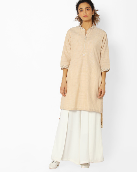 High-Low Straight Kurta By Rangriti ( Beige )