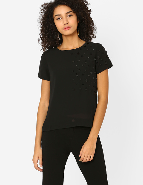 Boxy Top With Embellishments By AJIO ( Black )