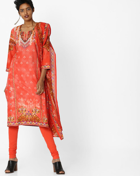 Printed Cotton Kurta Suit Set With Dupatta By Biba ( Peach )