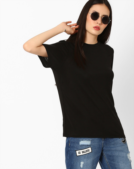 Crew-Neck Boxy Top By Vero Moda ( Black )