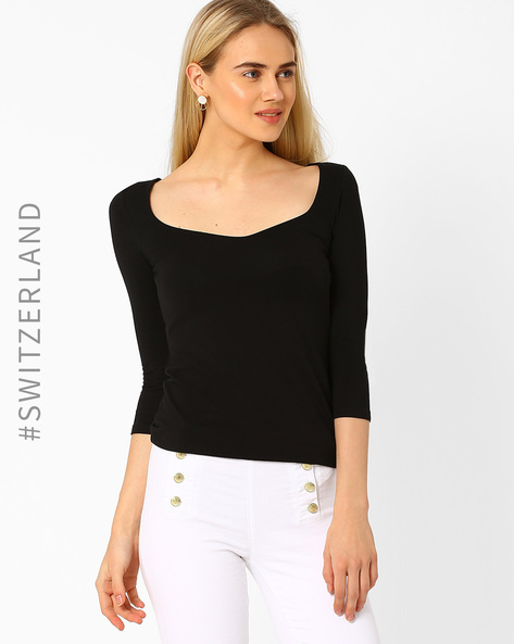 T-shirt With Scoop Neck By TALLY WEiJL ( Black )