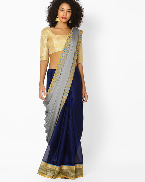 Chiffon Saree With Embroidered Border By Vastrangi ( Grey )