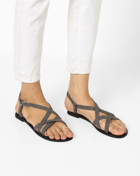 Ankle-Strap Flats With Criss-Cross Upper By Curiozz ( Grey )