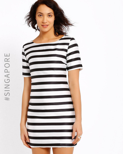 Striped Bodycon Dress By MDS ( White )