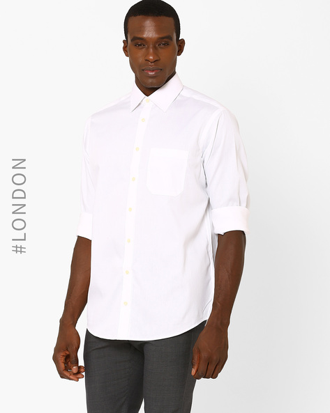 Cotton Casual Shirt By Marks & Spencer ( White )