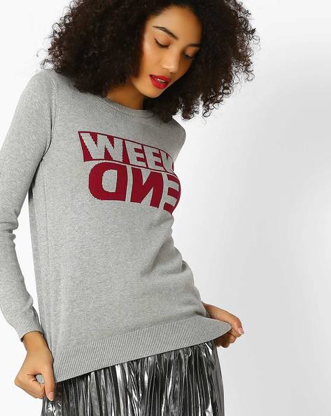 Regular Fit Ribbed Pullover With Typographic Pattern By Lee ( Gray )