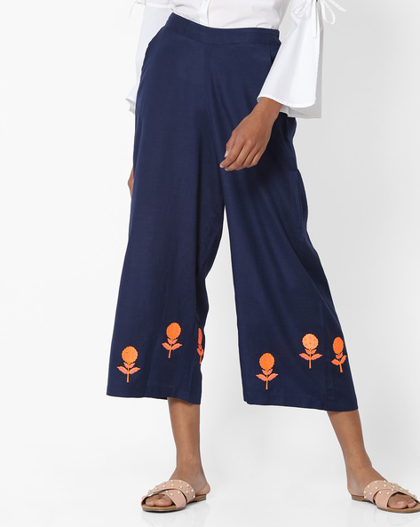 Mid-Rise Palazzos With Embroidery By FUSION ( Navy )