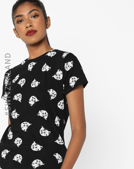 Printed Crew-Neck T-shirt By TALLY WEiJL ( Black )