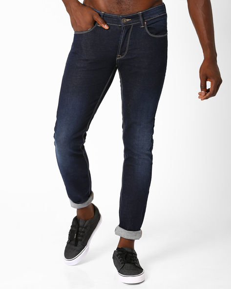 Lightly Washed Skinny Fit Jeans By SPYKAR ( Dkblue ) - 460032238002