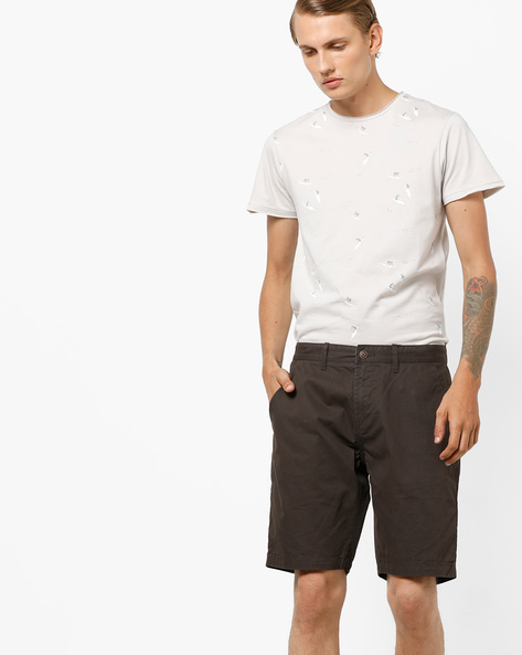 Mid-Rise Flat-Front City Shorts By AJIO ( Olive )