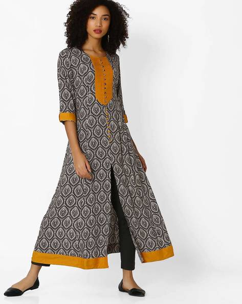 A-line Kurta With Front Slit By Shree ( Brown )