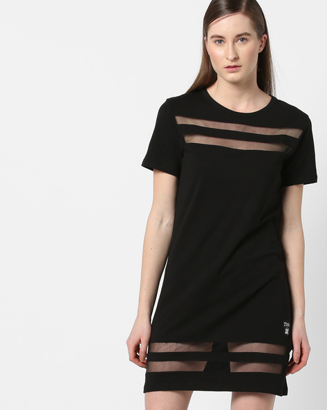 Shift Dress With Sheer Panels By KULTPRIT ( Black )