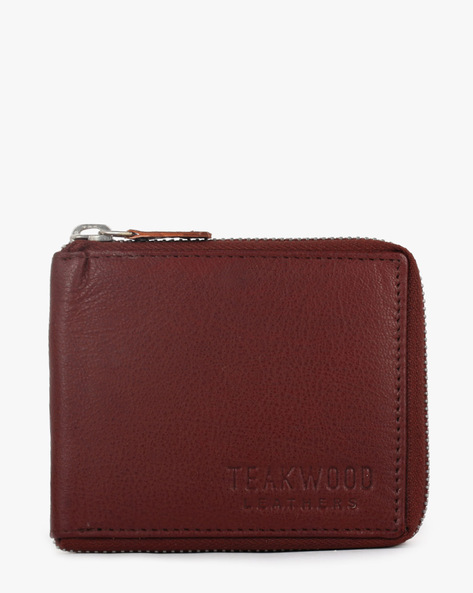 Leather Bi-Fold Wallet By TEAKWOOD LEATHERS ( Burgundy )