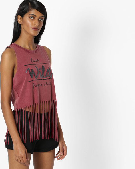 Fringed Sleeveless Crop Top By Pink Woman ( Maroon )