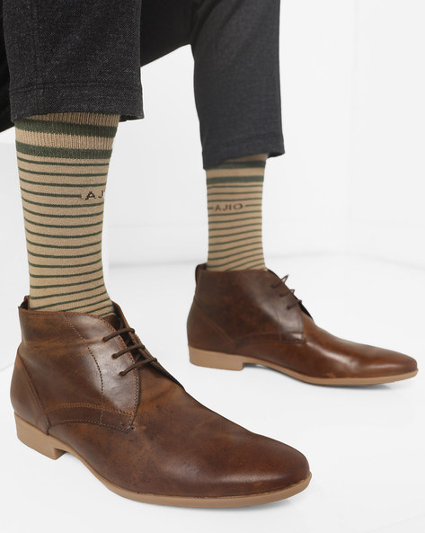 N9-Treated High-Top Derby Shoes By AJIO ( Brown )