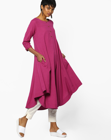 Flared Kurta With Asymmetric Hem By Project Eve IW Casual ( Pink )