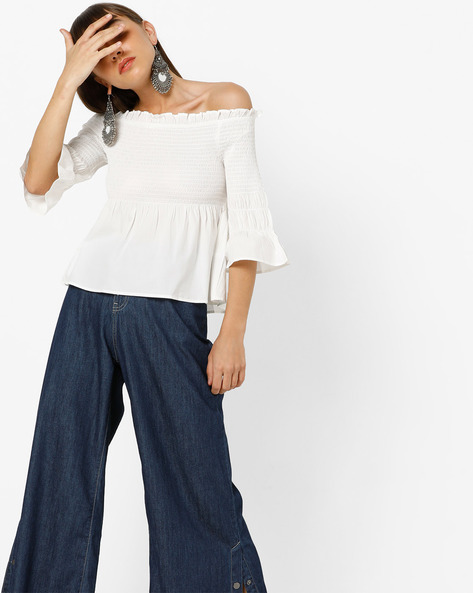 Off-Shoulder Top With Ruffles By Only ( Cream )