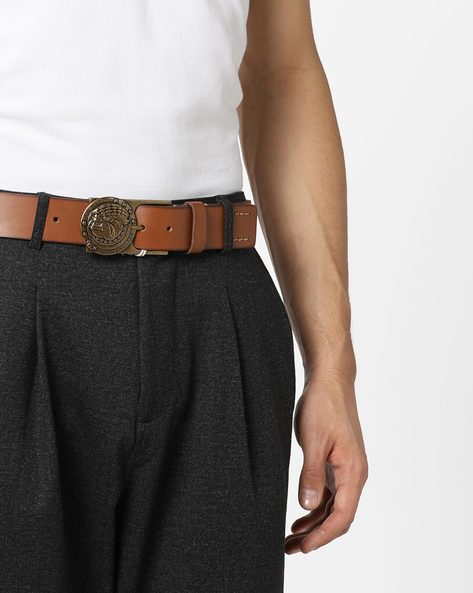 Leather Belt With Stylised Buckle By ED HARDY ( Tan )