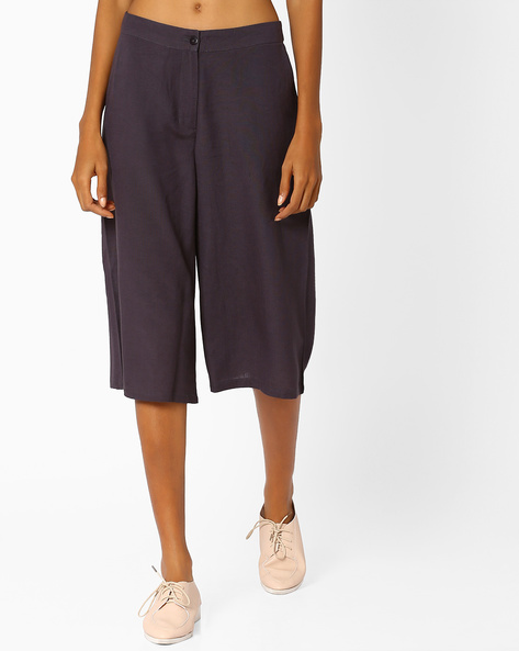 Culottes With Slant Pockets By AJIO ( Grey )