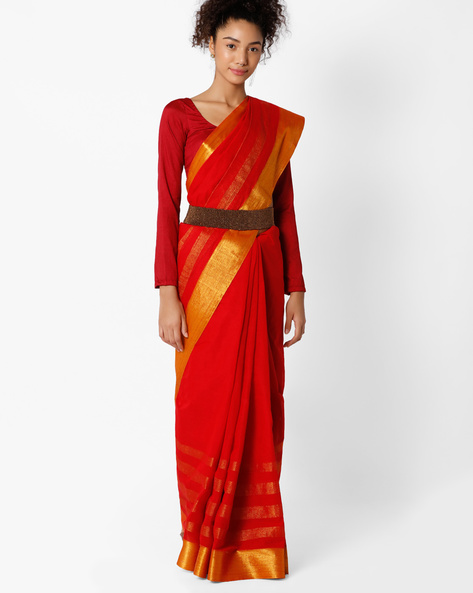 Cotton Saree With Contrast Border By Amori ( Red )
