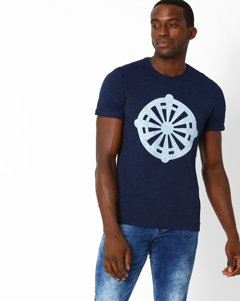 Regular Fit Printed T-shirt By Celio ( Indigo )
