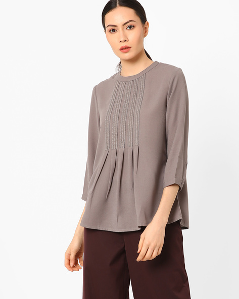 Blouse Top With Lace Trim By AJIO ( Grey )