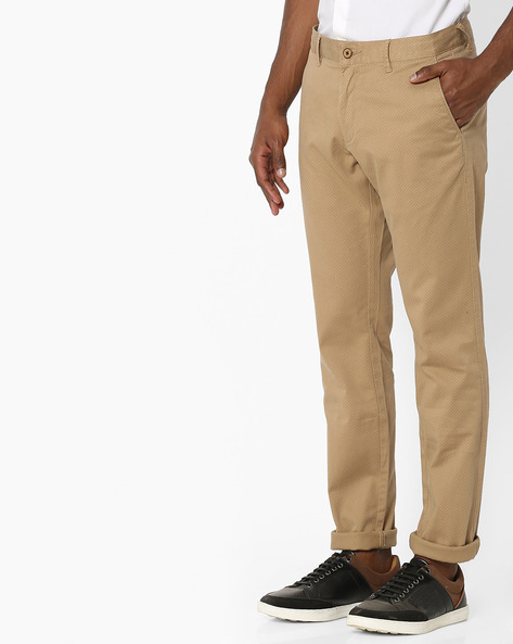 All-Over Print Tapered Fit Chinos By NETPLAY ( Khaki )