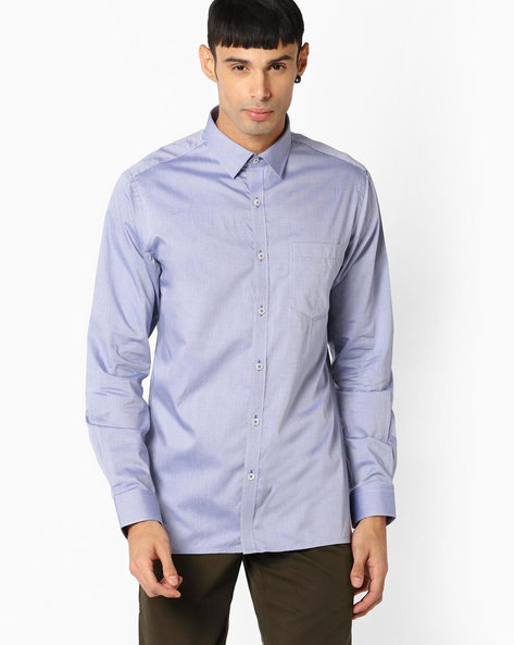 Regular Fit Shirt With Patch Pocket By VIMAL APPARELS ( Navy )