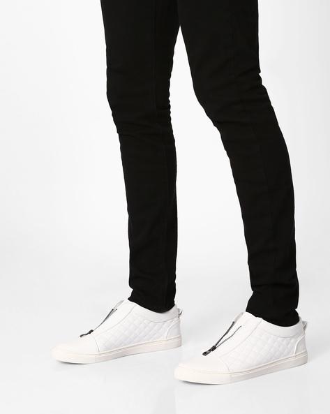 Quilt-Stitch Sneakers With Zip Fastening By AJIO ( White )