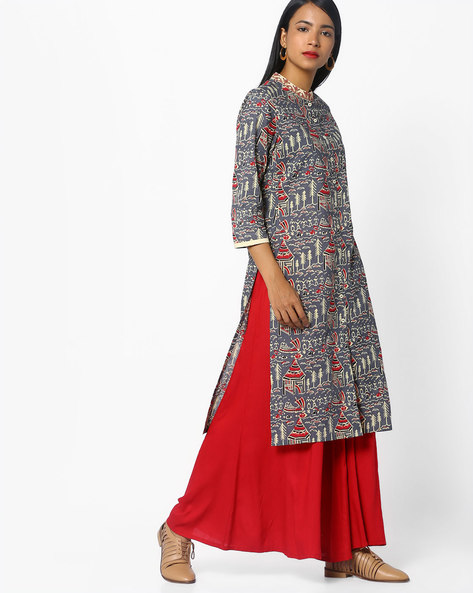 Printed Kurta With Front-Slit Hem By AJIO ( Charcoal )