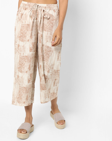 Printed Culottes With Drawstring Waist By Project Eve IW Casual ( Offwhite )