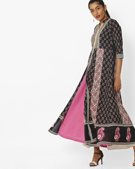 Printed Layered Kurta By Rain & Rainbow ( Black )