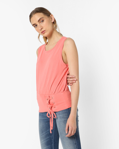 Sleeveless T-shirt With Metal Eyelets By AJIO ( Lightpink )