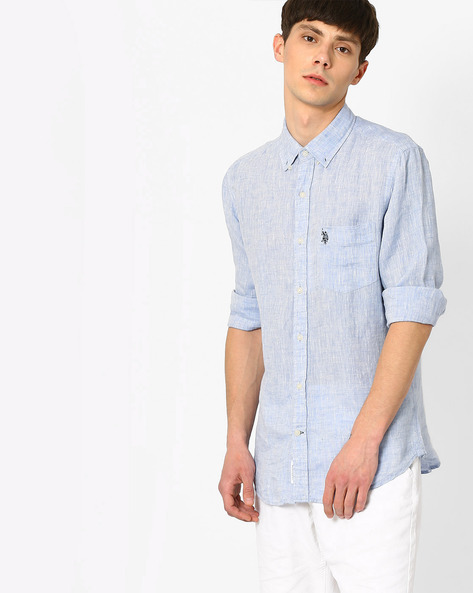 Linen Shirt With Patch Pocket By US POLO ( Blue )