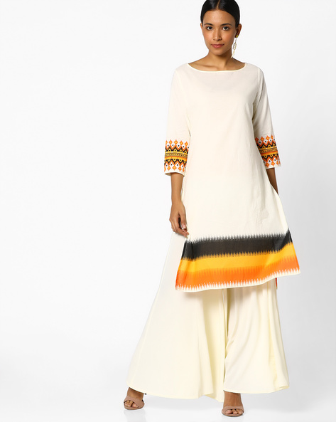 Straight Kurta With Printed Panels By Melange By Lifestyle ( Offwhite )