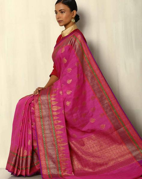 Banarasi Antique Zari Dupion South Silk Saree By Pretty Woman ( Pink )