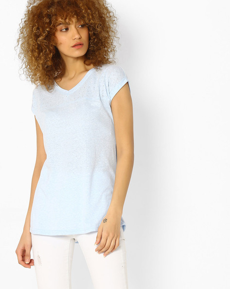 Cotton Top With Short Sleeves By Fame Forever ( Blue )
