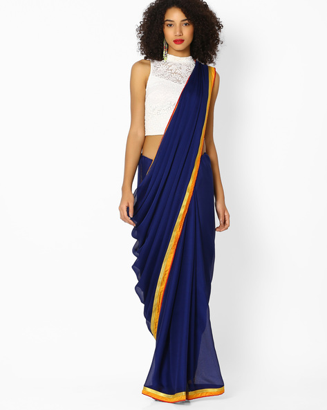 Chiffon Saree With Contrast Border By Vastrangi ( Navyblue ) - 460108458001