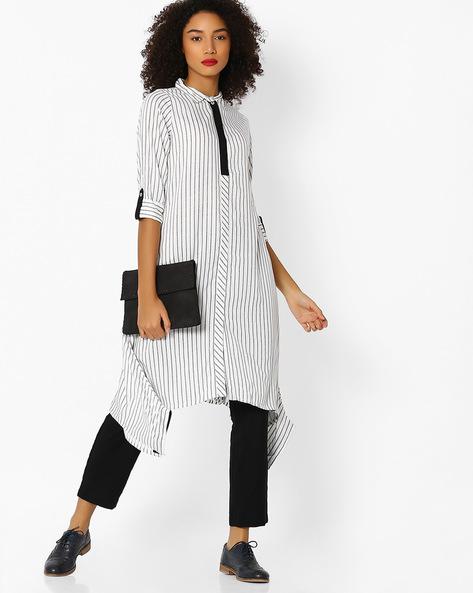 Striped Shirt Kurta With Handkerchief Hemline By AVAASA WORKWEAR ( Offwhite )