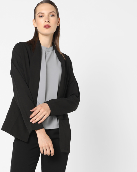 Front-Open Blazer With Shawl Lapel By AJIO ( Black )