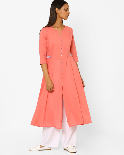 Flared Kurta With Front Slit By AJIO ( Peach )